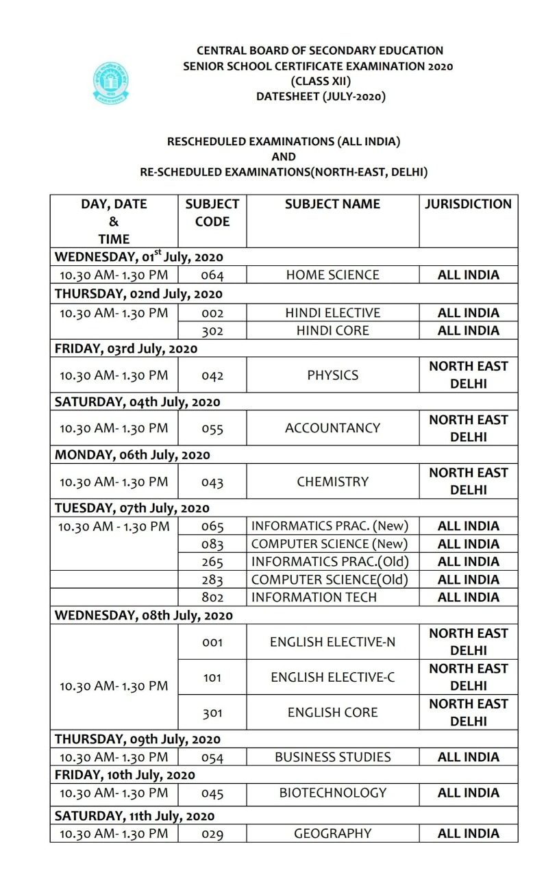 cbse exam 12 time table 2020