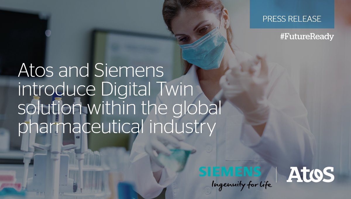 """Atos and @Siemens are working together with the #pharmaceutical industry to improve production with an innovative solution called """"Process Digital Twin"""" based on a digital replica of the #pharma production process. #DigitalTwin #FutureReady ➡️Read more: https://t.co/b2DZOzHyTU https://t.co/mbdy8NIuPI"""