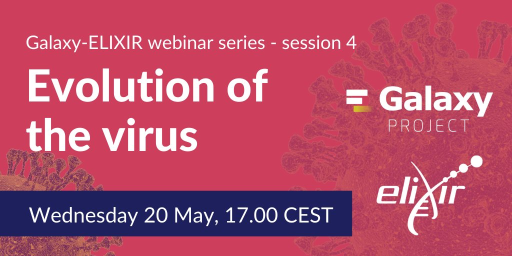 Learn about the natural selection analysis and genomic diversity of the #SARSCoV2 virus! Join the 4th session of our @galaxyproject-ELIXIR webinar series with @sergeilkp.  🗓️ Wednesday 20 May, 17.00 CEST  ❗️ Register: https://t.co/2XdPBcKbNx  #ELIXIRvsCOVID19 https://t.co/kRyTArl5iF