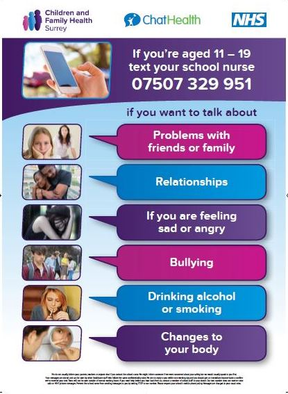 Our #ChatHealth text service is here for #Surrey secondary school students on 07507 329 951: 9am-5pm weekdays For confidential advice on issues such as bullying, emotional health and wellbeing, sexual health as well as illnesses bit.ly/2U5pPC5