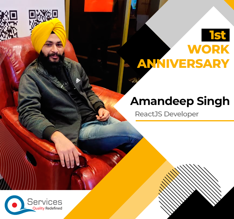 #Congratulations to you Amandeep for your first anniversary at #QServicesInc. A Company with employees like you, achievement is no more a fantasy, it's a sure thing to be accomplished. #HappyAnniversary2020 #MobileAppDeveloper #ReactJSdeveloper #ReactNativeDeveloper <br>http://pic.twitter.com/RNzGIC8MP9