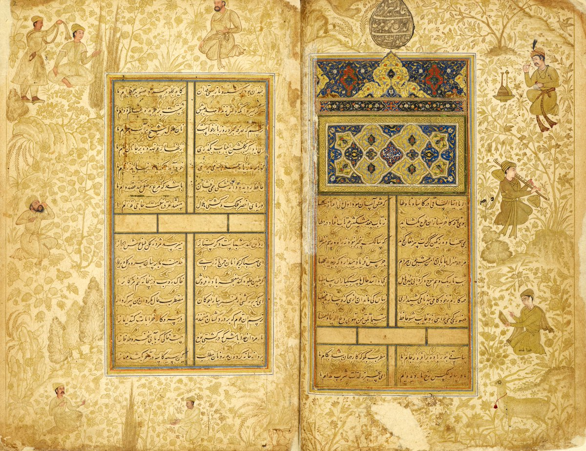 This volume contains collected poems of the famous Persian poet #Hafiz of Shiraz, who died in 1390. The text was copied by Sultan 'Ali Mashhadi (1442–1519), one of the greatest calligraphers of Iran. Arabesques and vignettes adorn the pages #InternationalMuseumDay Or. 14139, f.1v https://t.co/RhZV2Qf8W2
