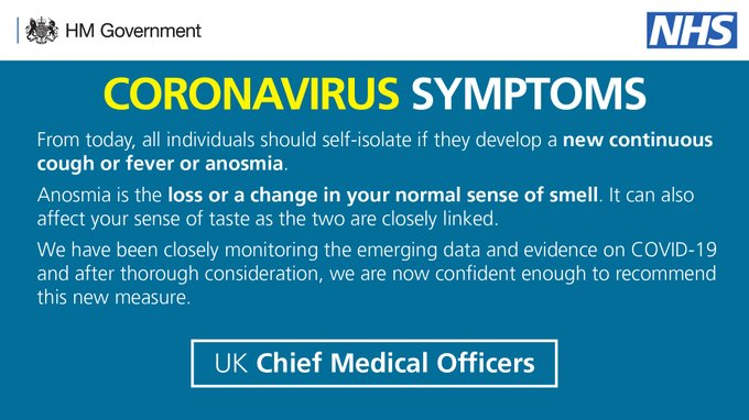 Coronavirus symptoms: Statement from the four UK Chief Medical Officers From today, all individuals should self-isolate if they develop a new continuous cough or fever or anosmia. Anosmia is the loss or a change in your normal sense of smell. It can also affect your sense of taste as the two are closely linked. We have been closely monitoring the emerging data and evidence on COVID-19 and after thorough consideration, we are now confident enough to recommend this new measure.
