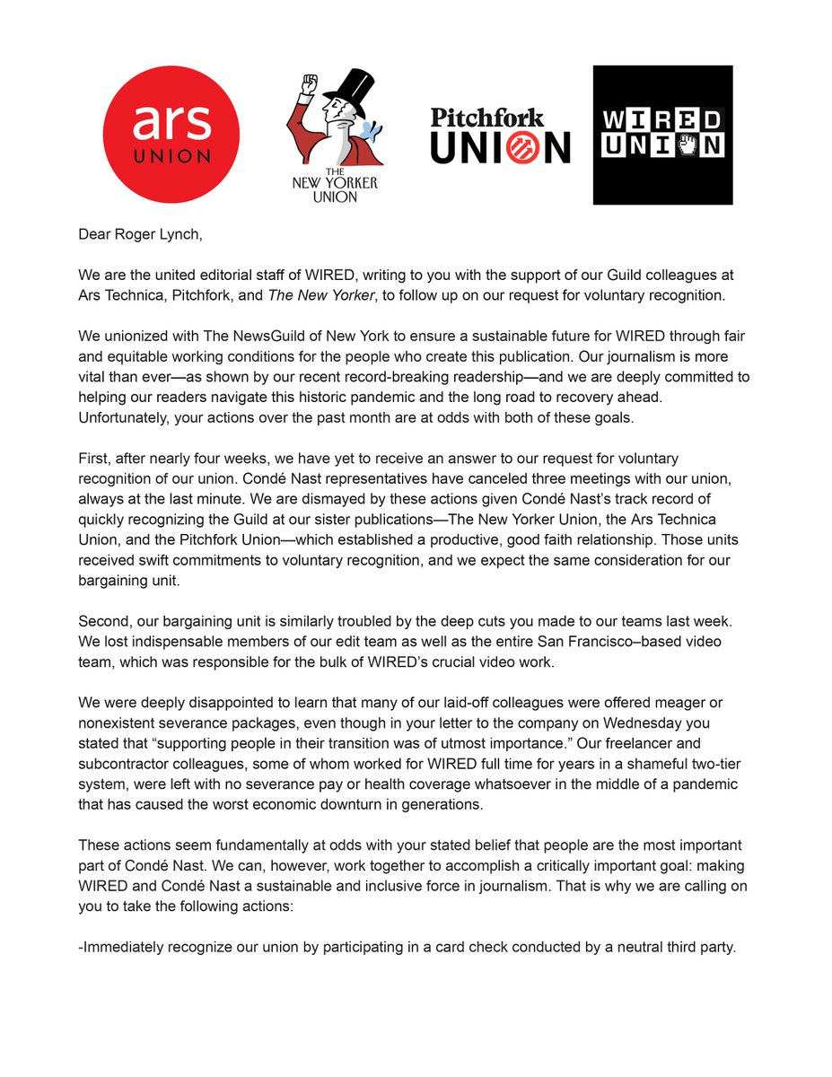 Today, we sent the following letter to @RogerLynch, backed by over a hundred of our colleagues at @ars_union, @thenewyorkerunion, and @p4kunion, demanding that @CondeNast immediately recognize our union and improve severance packages for our recently laid off coworkers. https://t.co/NqOILOqxXw