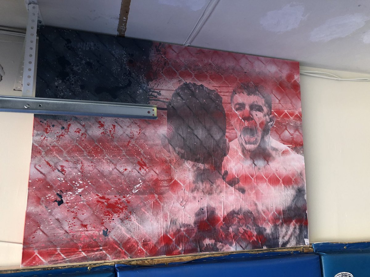 This #SameAl painting hangs in the home garage gym of @ALIAQUINTA. I thought it was pretty cool to look at.  I'm told John Seery is the person responsible for it. https://t.co/Rkiu0IQYDC