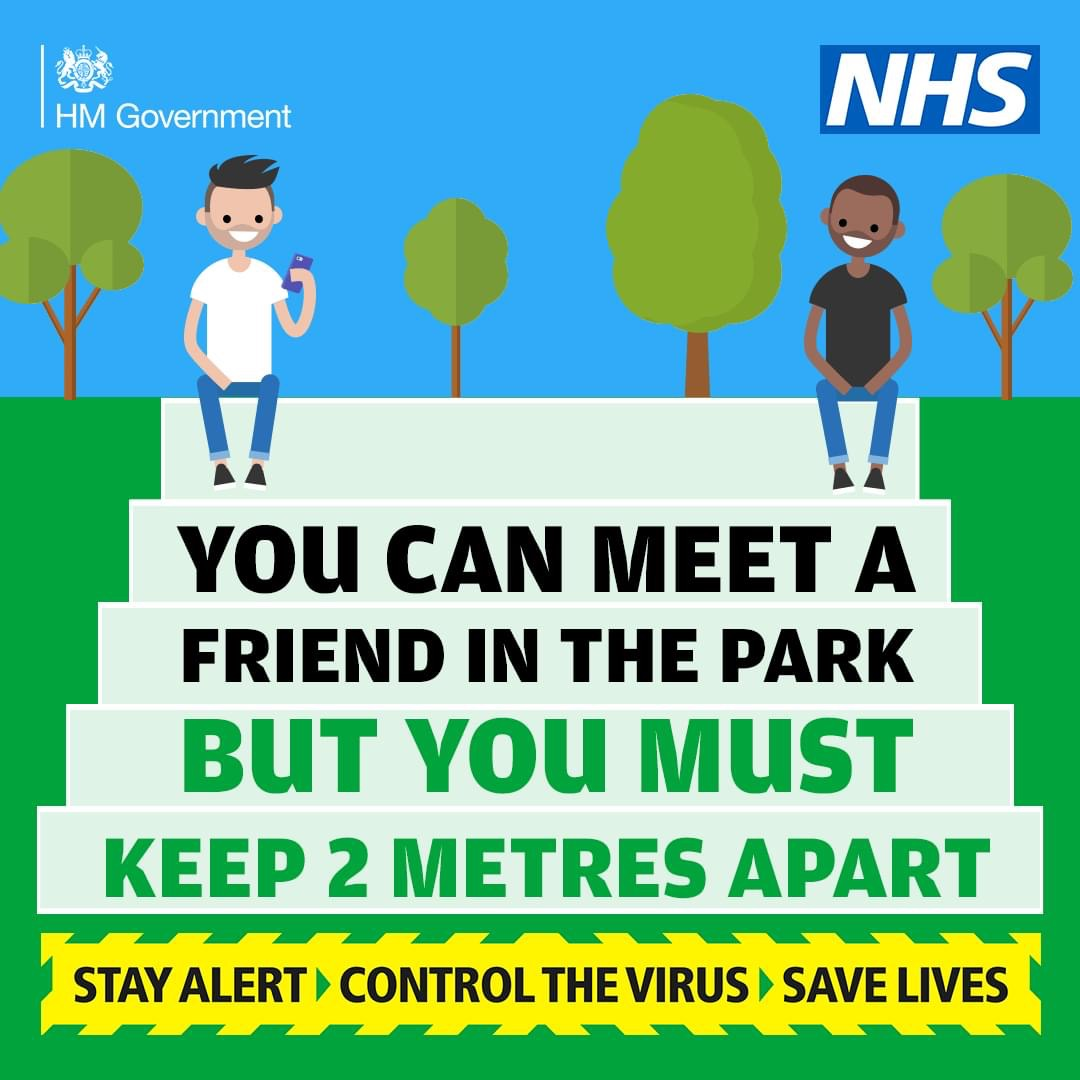 You can meet one other person outside your home. But you must #StayAlert, by staying 2 metres apart.