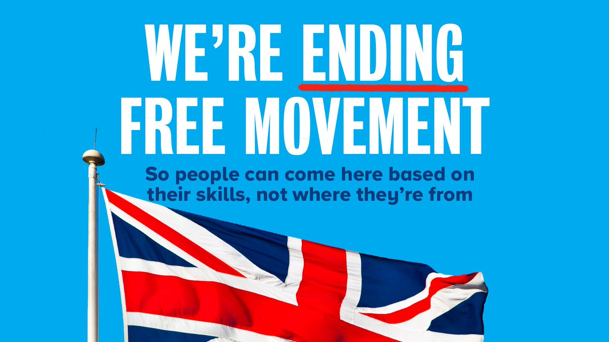 🗣 We promised to introduce a firmer and fairer points-based system that would attract people based on the skills they have. Not where they are from. ✍️ The Immigration Bill delivers on that promise – ending free movement and giving the UK full control of our immigration system.