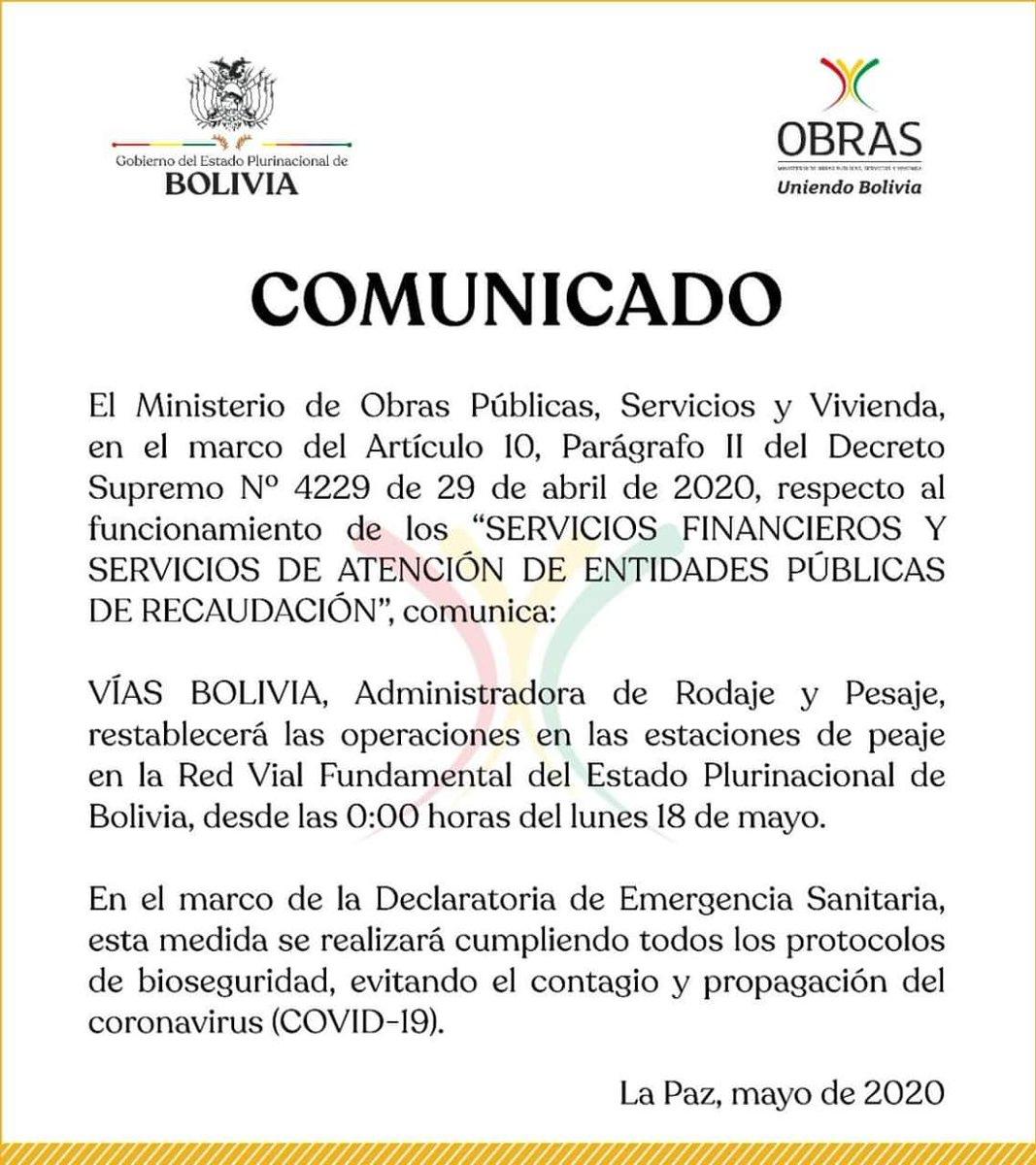 #Último   #VíasBolivia anuncia que restablecerá las operaciones en las estaciones de peaje. #YoMeQuedoEnCasa #CuarentenaTota https://t.co/A2OITu6mXh