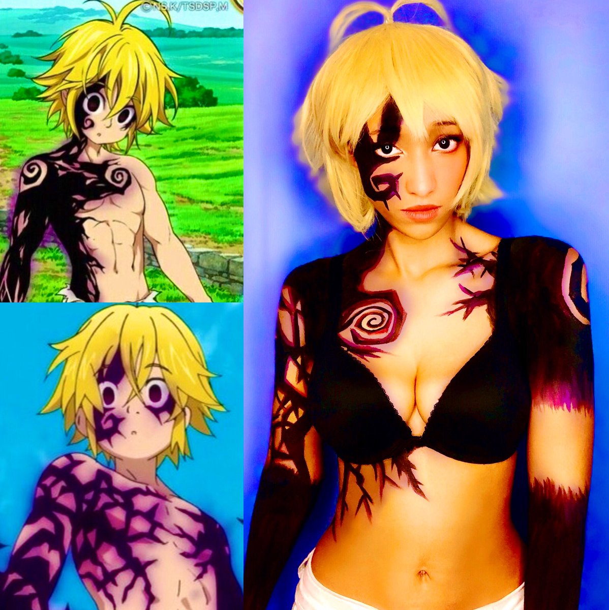 Meliodas  My inspired look of Meliodas' demon form marks  More at http://Onlyfans.com/Leiracosplays   Bodypaint from @mehronmakeup  #SevenDeadlySins #NanatsunoTaizai #Meliodas #Meliodascosplay #cosplay #cosplayer #blackcosplayer #latina #anime #manga #blackcosplayerhere #makeuppic.twitter.com/fdM8fsNSX4