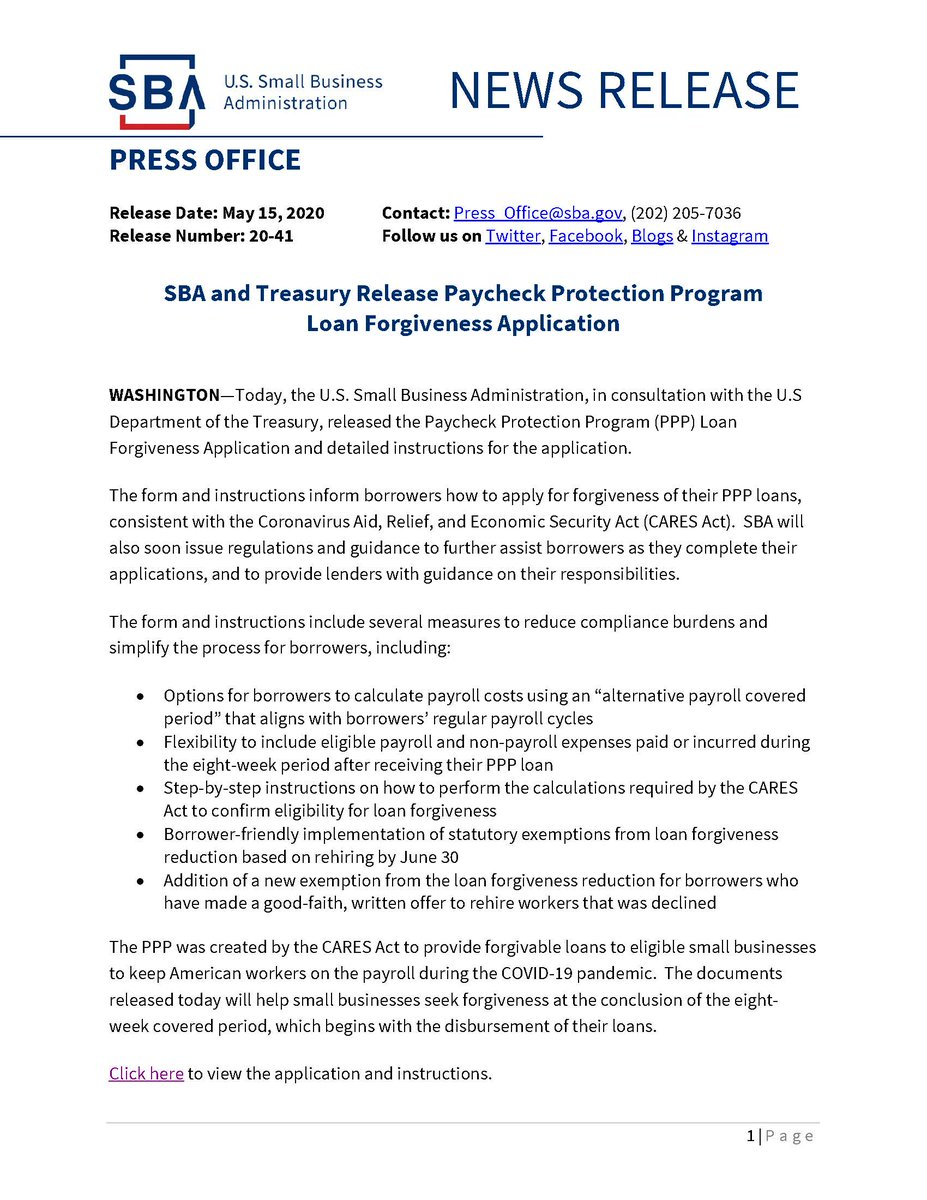 Application for PPP forgiveness has been published. Here is the link: content.sba.gov/sites/default/…