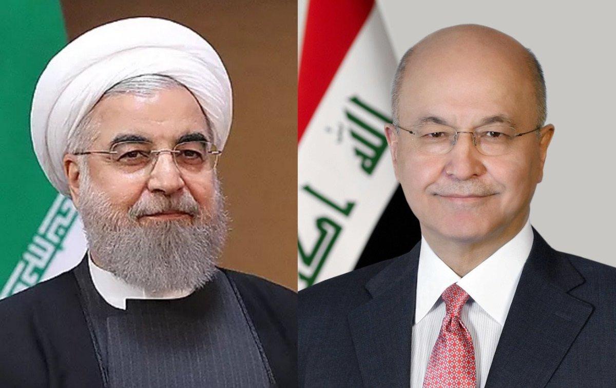 رئيس الجمهورية @BarhamSalih يتلقى، اليوم الإثنين، اتصالاً هاتفياً من نظيره الإيراني  @HassanRouhani .   وجرى، خلال المكالمة، بحث سبل توطيد العلاقات الثنائية، وتطوير آفاق التعاون المشترك بما يخدم مصلحة الشعبين الجارين. https://t.co/jaT0oO2YcH