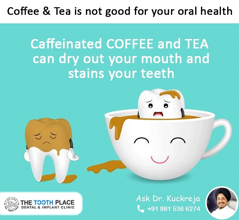 Coffee and tea stains occur when tannins in both of them build up on tooth enamel. Follow us to know more. #coffee #tea #oralhealth #teethstains #yellowteeth #gumproblem #unhealthyteeth #brushingteeth #teethwhitening #dentalclinicludhiana #kbskuckreja #thetoothplace #teateethpic.twitter.com/OfZdT3hBL8
