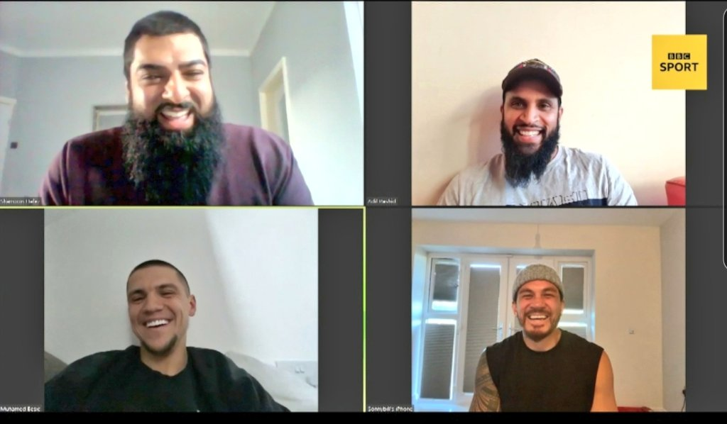 Enjoyed catching up with the brothers SBW, Adil Rashid and Muhamed Besic ❤  Discussed coping with #Ramadan in lockdown, what everyone is missing the most and one of the guys becoming an expert baker.  More across @BBCSport tomorrow. https://t.co/KhNMwdIGmY