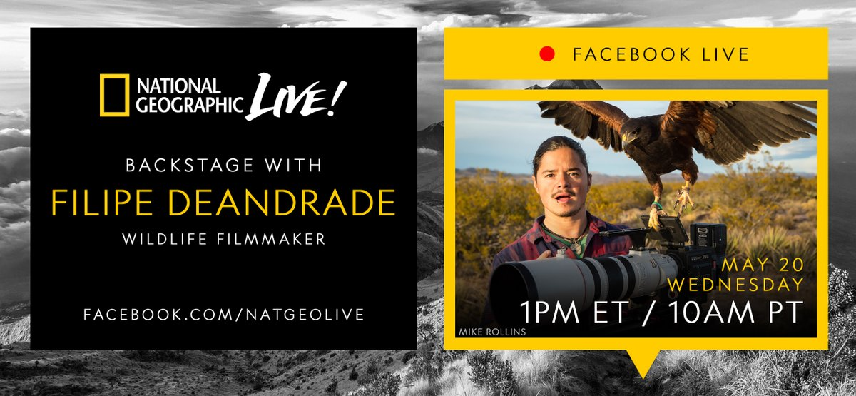 Join us Wed 5/20 as we go #backstage with wildlife filmmaker & @natgeowild host Filipe DeAndrade at 1pm ET / 10am PT on https://t.co/cmOMRBhXZx https://t.co/o5yLAgPaf0