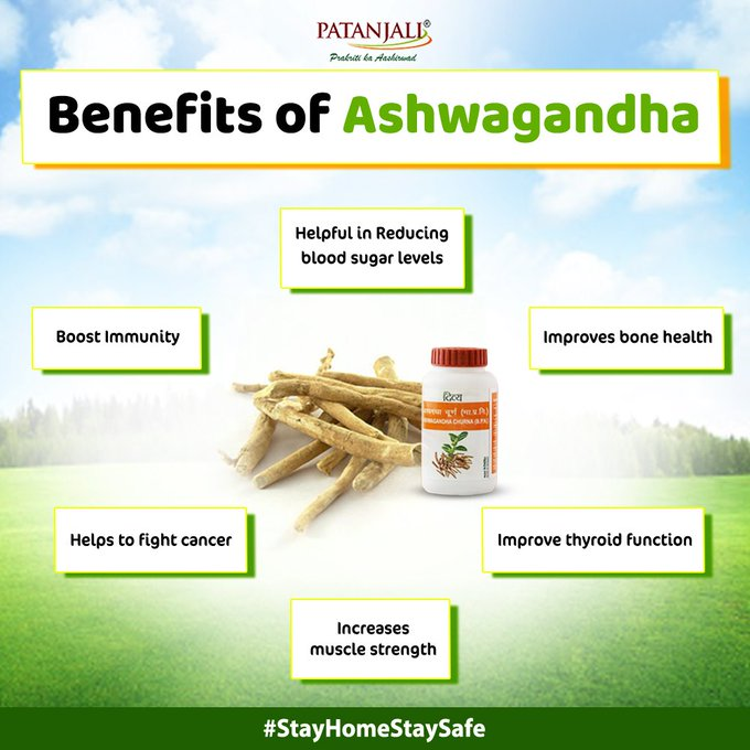 Ashwagandha helps to boost your health and treat various health problems. Its antioxidant properties helps to improve bone health, increase muscle strength and boost your immunity. #Patanjali #VocalForLocal #ImmunityBoosters #Ashwagandha  IMAGES, GIF, ANIMATED GIF, WALLPAPER, STICKER FOR WHATSAPP & FACEBOOK