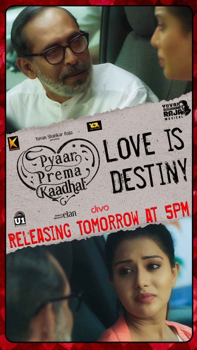 'Love is Destiny' - The next Deleted Scene from #PyaarPremaKaadhal Releasing Tomorrow at 5PM on @U1Records. Stay Tuned!  @iamharishkalyan @raizawilson @thisisysr @elann_t @YSRfilms @divomovies https://t.co/cJFNEOee7B