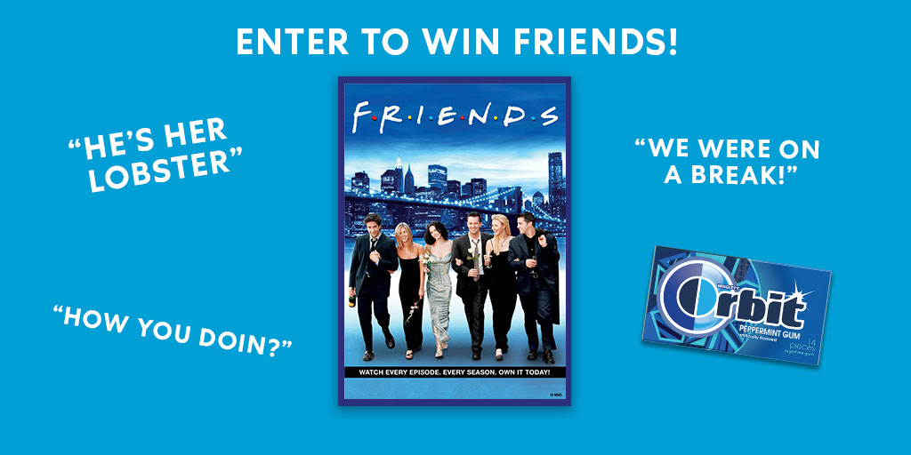 #Sweepstakes Need a laugh? Comment below your favorite couple on the show for a chance to win a digital download of the FRIENDS full series! #OwnFriendsTV No Purch. Nec 50 US/DC 18+. Ends 5/19/20. Winners must redeem by 10/31/20. For Rules: bit.ly/Orbit_FRIENDS
