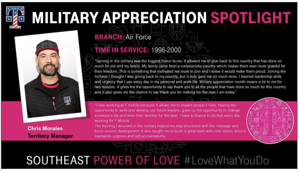 Spotlight on @cmorales33 this #MilitaryAppreciationMonth Love how the #SEPowerOfLove and his service in the military drives his passion to lead and develop others. #WeSaluteYou and thank you for your service, Chris! @JonFreier