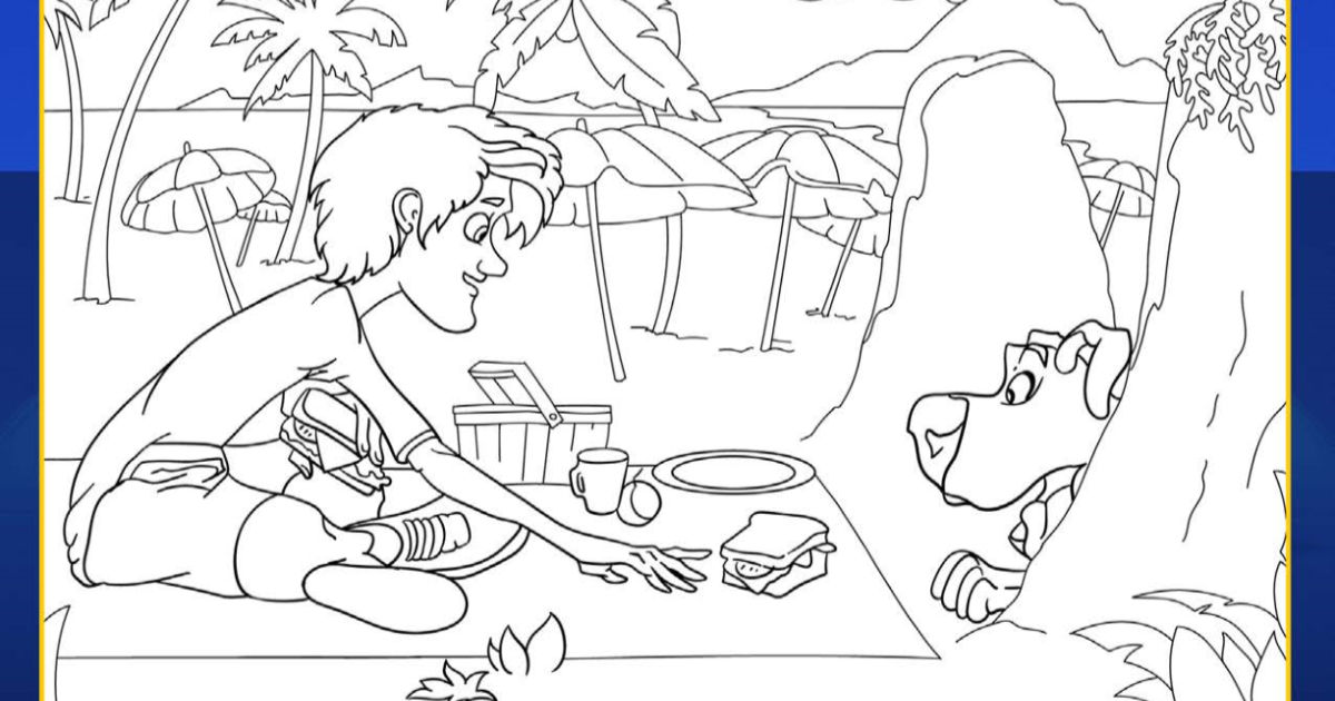 Free Printable #Shaggy and #ScoobyDoo Picnic Coloring Page  #ScoobMovie