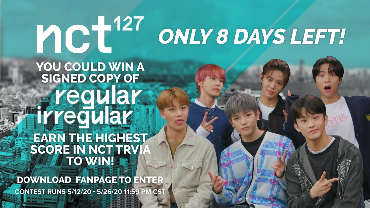 There are only 8 days left to win #NCT127 #RegularIrregular! Get the highest score on #Fanpage #trivia to win!  Download Fanpage to Enter: https://t.co/ABGKHUzU63 https://t.co/lTkEPR6y3w