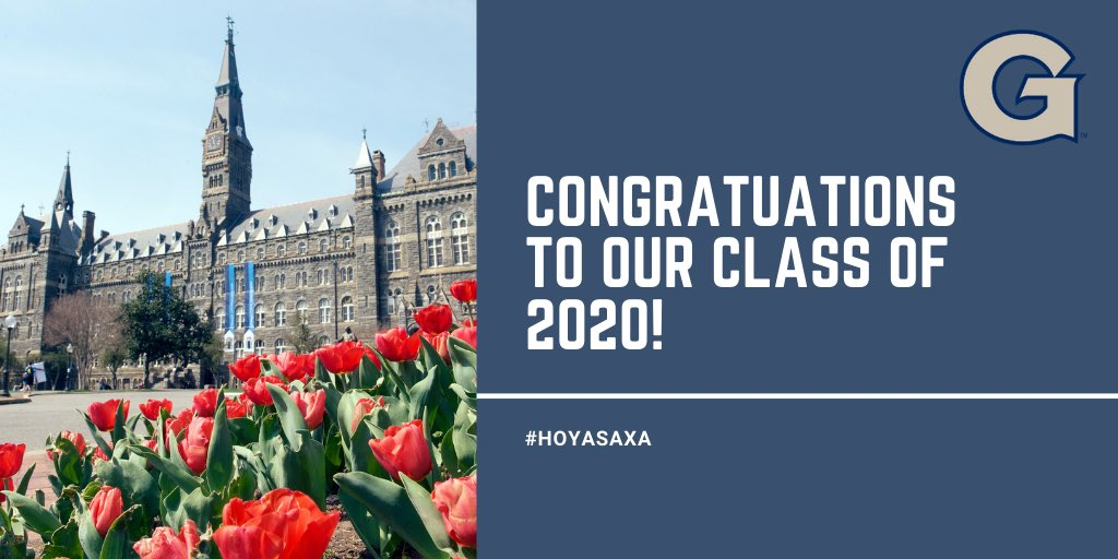Congratulations to our seniors who earned their degrees over the weekend! Thank you for all you've done to represent the Blue and Gray. #HoyaSaxa