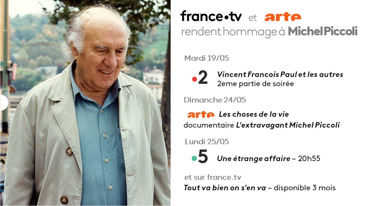 .@Francetele et @ARTEfr rendent #hommage à Michel Piccoli 👇 https://t.co/vTLrudXnXo https://t.co/rhWnIWzXrK