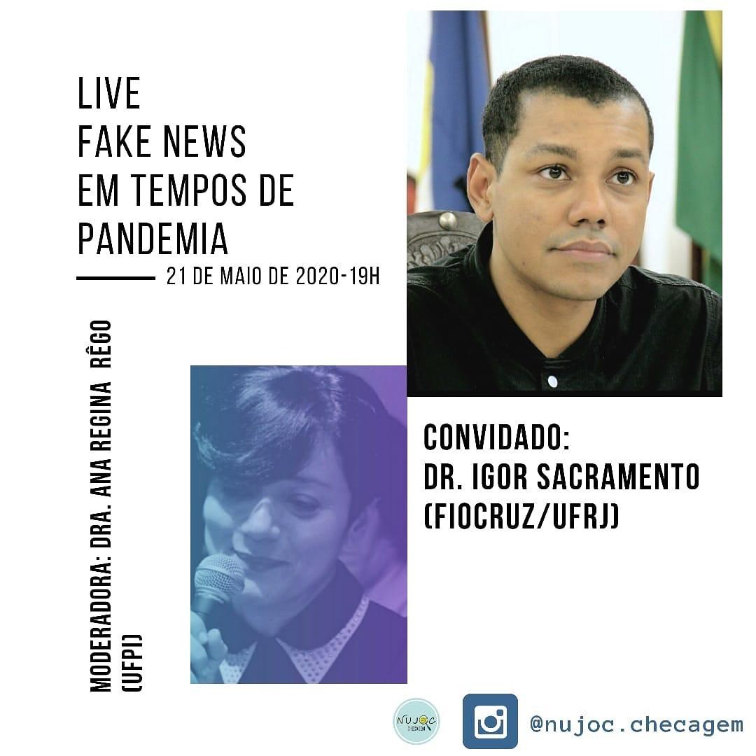 Live: Fake News em tempos de Pandemia 📲 . 📍A Live acontecerá no dia 21/05, nessa quinta-feira, às 19h da noite. . 📲Será transmitida pelo perfil: @nujoc.checagem. . 😉Não perca!! . . . #ufpi #minhaufpi #vemparaufpi