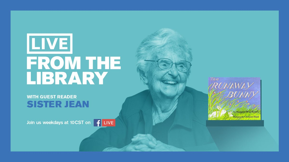 Tuesday's #LiveFromTheLibrary is a true Chicago treasure- we're welcoming Sister Jean, @RamblersMBB #1 fan! 💯 years old and still reading 🤗. Stick around afterwards for a bonus story time from CPL librarian Aldo. https://t.co/l9w9rofEsP https://t.co/F0DU8yiY5Z