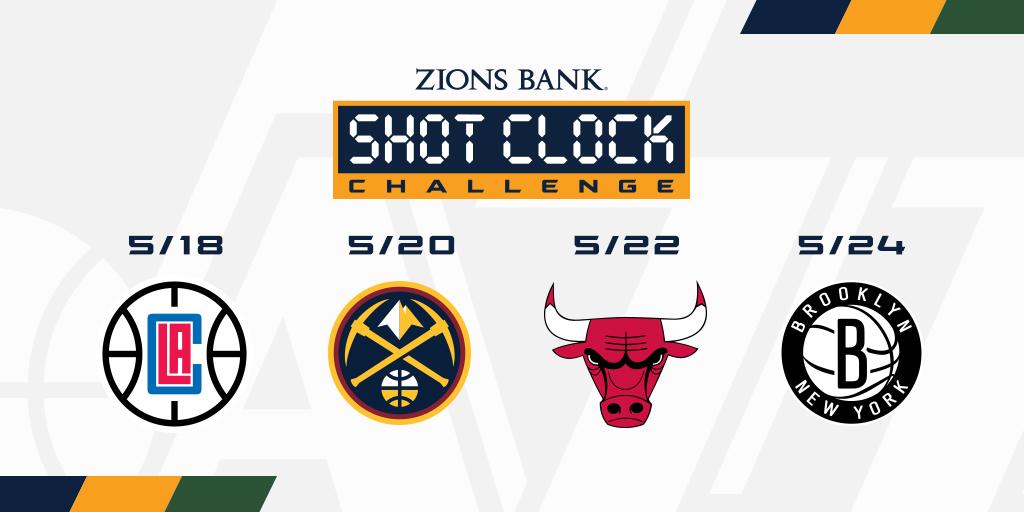 🏀 1 week, 4 opponents 🏀  Download the Utah Jazz app and play the @zionsbank #ShotClockChallenge to help us win 📱 https://t.co/oOynfWakm3