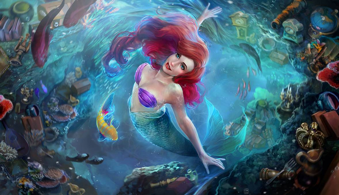 """A vortex of brilliant colors make this life-like scene from """"The Little Mermaid"""" a quick fave!     """"Part of your world"""" by @clayscence: https://bit.ly/36aSaeB  #DisneyFanArt #Ariel #LittleMermaidpic.twitter.com/SYNsjMAhVV"""