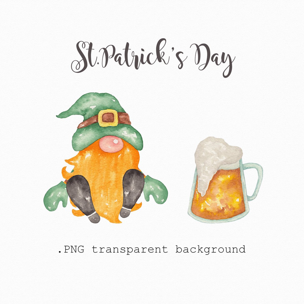Ina Yordanova On Twitter Excited To Share This Item From My Etsy Shop Watercolor Gnome Clipart Digital Clipart St Patrick S Day Invitation Clipart Printable Orange And Green Gnome And Beer Mug Lucky Clipart