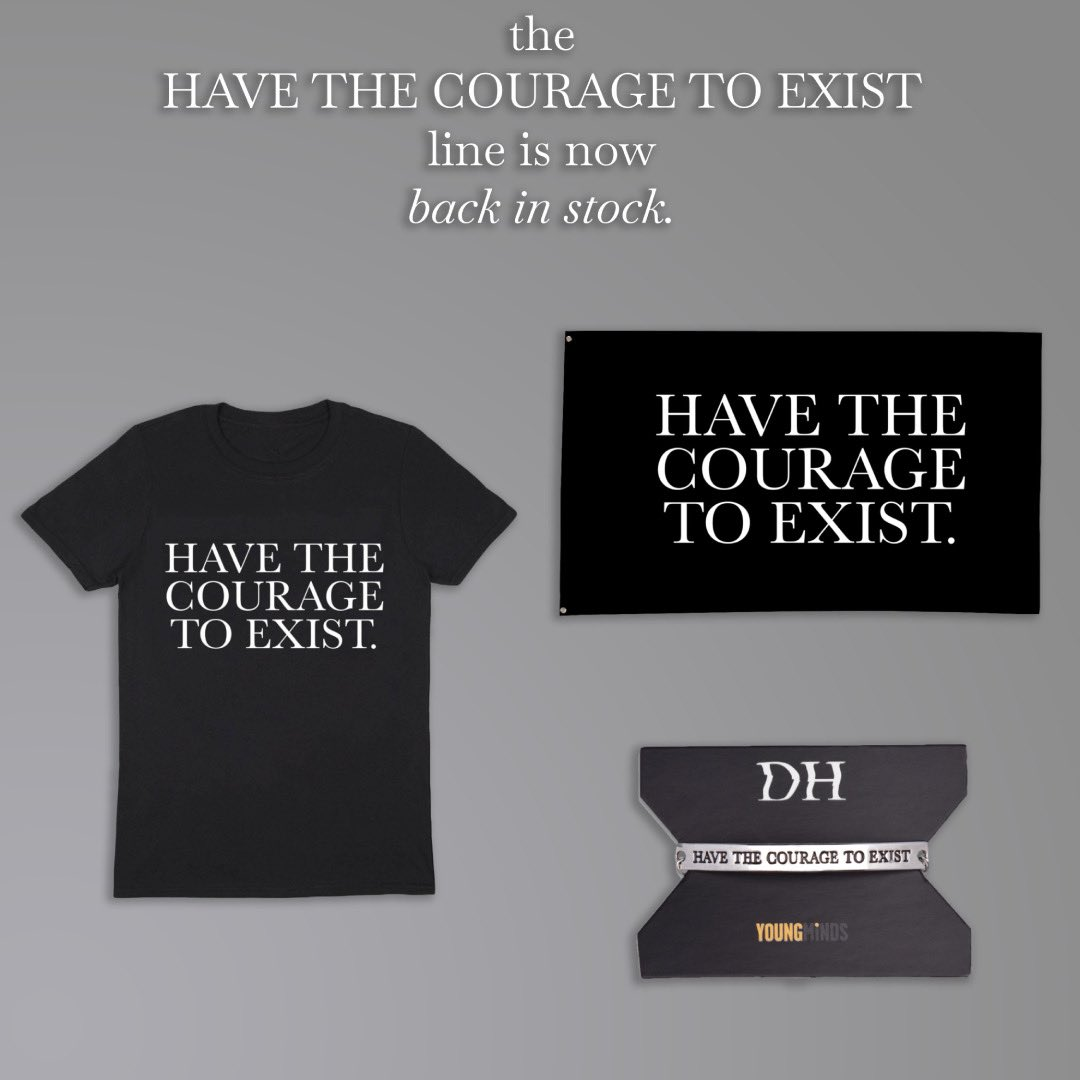 In honour of Mental Health Awareness Week, we've restocked the entire Exist range! A portion of the proceeds will be donated to @youngmindsuk, so head over to the Daniel Howell Shop to grab these fan-favourites 🖤