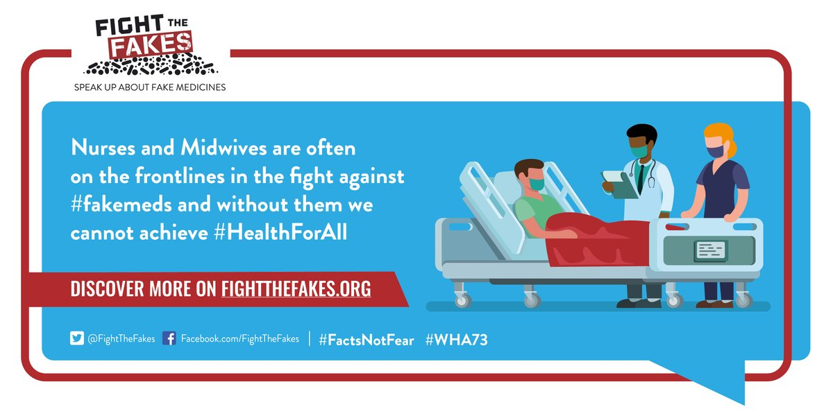Healthcare workers 👨🏽⚕👩🏿⚕ are on the front lines in the fight against substandard & #fakemeds, including for #COVID19. They provide an invaluable service to communities everywhere @ICNurses #SupportNursesAndMidwives #WHA73
