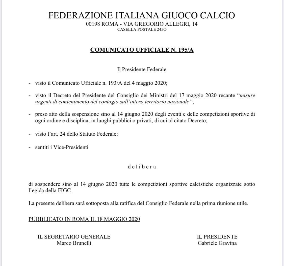 🇮🇹💥Comunicado de la @FIGC:  Tras el último decreto del Presidente Giuseppe Conte, suspende hasta el 14 de junio todas las competiciones deportivas. Así que o la @SerieA arranca un lunes, el lunes 15, o nos iríamos ya al fin de semana del 19 de junio.  #Calcio #SerieA https://t.co/IwmGhDH6Ew