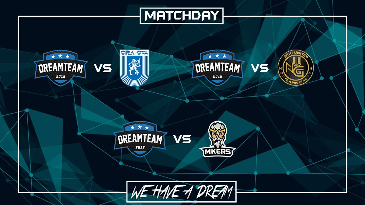 Matchday:  | @VPGeCL  | @UnivCraiova  | 21:30  | @VPGChampNorth  | @ngu_united  | 22:00  | @VPG_Italy  | @Mkers_ProClub  | 22:45  #WeHaveADream #GoDreamers pic.twitter.com/JB8wyGyimt
