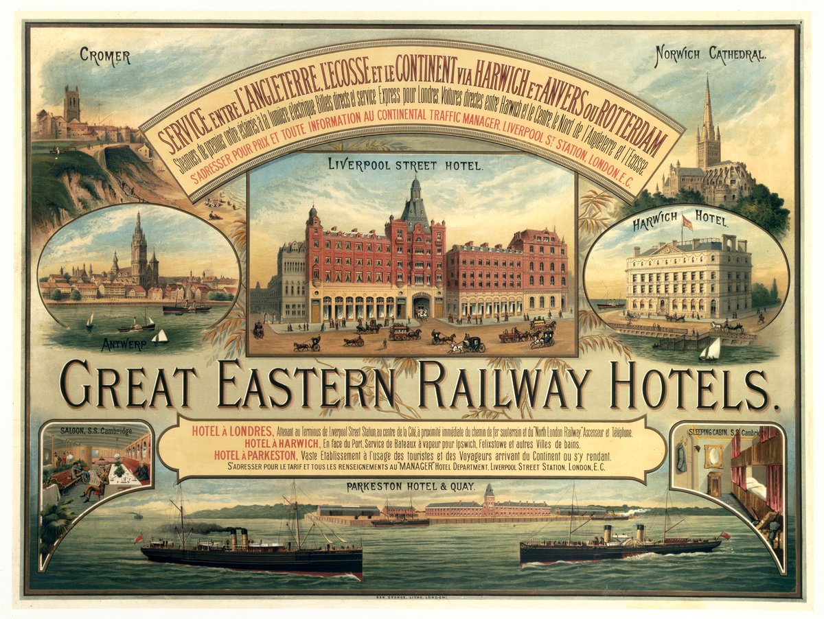 No 61: Staying with the Liverpool Street theme, here is an old railway poster extolling the virtues of Great Eastern Railway hotels. Not sure that many of them still stand except perhaps at the terminus and Harwich? @TurnipRail @NetworkRailLST
