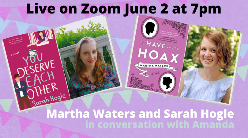 I'll be chatting with romance authors @witchofthewords & @marthabwaters - 6/2 at 7pm. Topics include smoldering glances, the love language of pranks, and selecting the ideal pair of business pajamas for Zoom events.