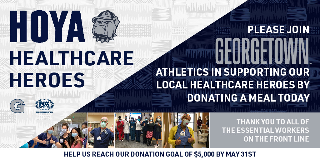 We are partnering with @MedStarGUH to provide meals to healthcare workers. Help us reach our goal of $5,000 by May 31st. Donate Here: fevo.com/edp/Hoya-Healt…