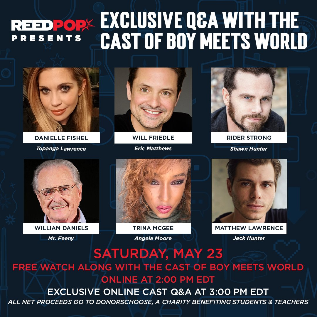 """It's a Boy Meets World cast reunion benefiting DonorsChoose!  This Saturday, May 23, queue up fan favorite Boy Meets World episode """"And Then There Was Shawn"""" on your own device and log onto the New York Comic Con Facebook page to watch along with the cast FREE 😱 https://t.co/vGB76cPpbx"""