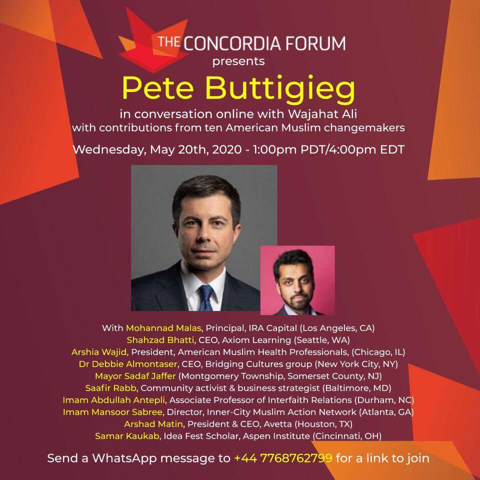 We're looking forward to hosting @PeteButtigieg for a virtual Ramadan #distantsocializing call *this Wednesday* to discuss the future of the democratic party. *Join us at 4PM EDT*