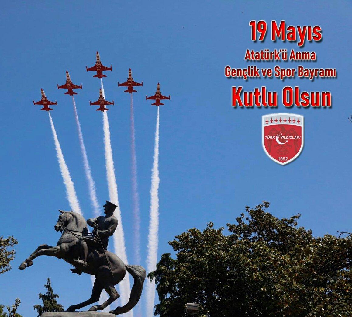 19 Mayıs Atatürk'ü Anma, Gençlik ve Spor Bayramımız kutlu olsun! Gazi Mustafa Kemal Atatürk başta olmak üzere milli mücadelemizin bütün kahramanlarını rahmet ve şükranla anıyoruz. #19MAYIS #19MAYIS1919 https://t.co/j3gBNIZevN
