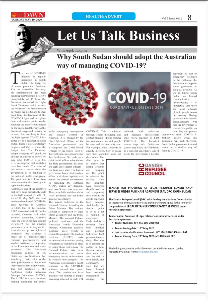 If you are in Juba, pick up The #Dawn_newspaper in the morning of 19 May and read my column on COVID-19. It would be very helpful if it reaches the Presidency.  For everyone else, I will post this article on my website this evening, Australian time. https://t.co/HbZ2G8U0CP