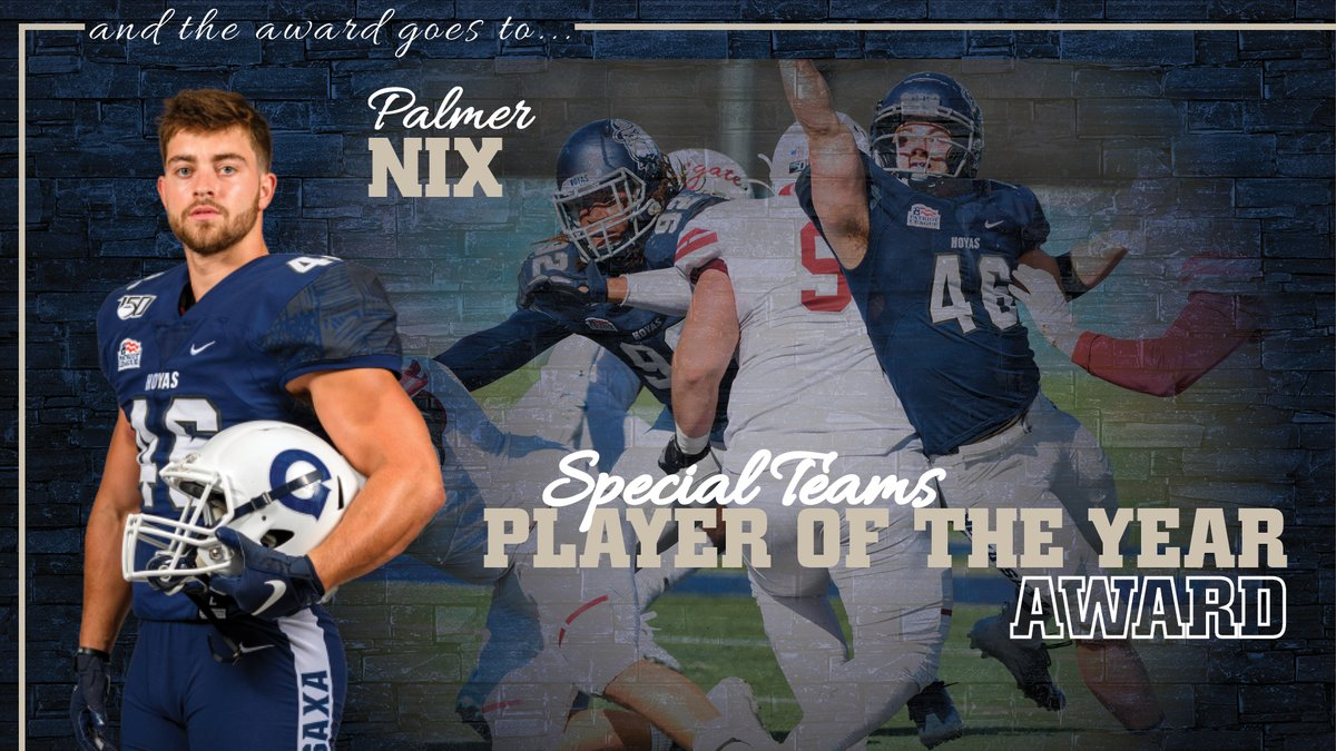 An All-Patriot League Second Team selection, Palmer Nix was a catalyst for the #Hoyas success on special teams. He was also part of the regular rotation in the linebacker corps, registering 19 tackles, 2.0 TFL and a quarterback hurry. #HoyaSaxa #DefendtheDistrict