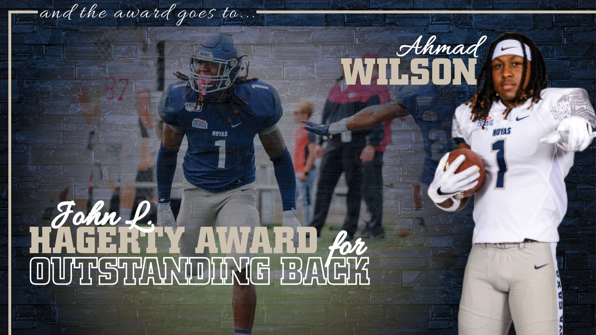 The John L. Hagerty Award goes to Ahmad Wilson!! The junior was an All-Patriot League First Team selection and ranked 2nd on the #Hoyas with 62 tackles. He also had 3.0 TFL, a forced fumble and an INT. #HoyaSaxa #DefendtheDistrict
