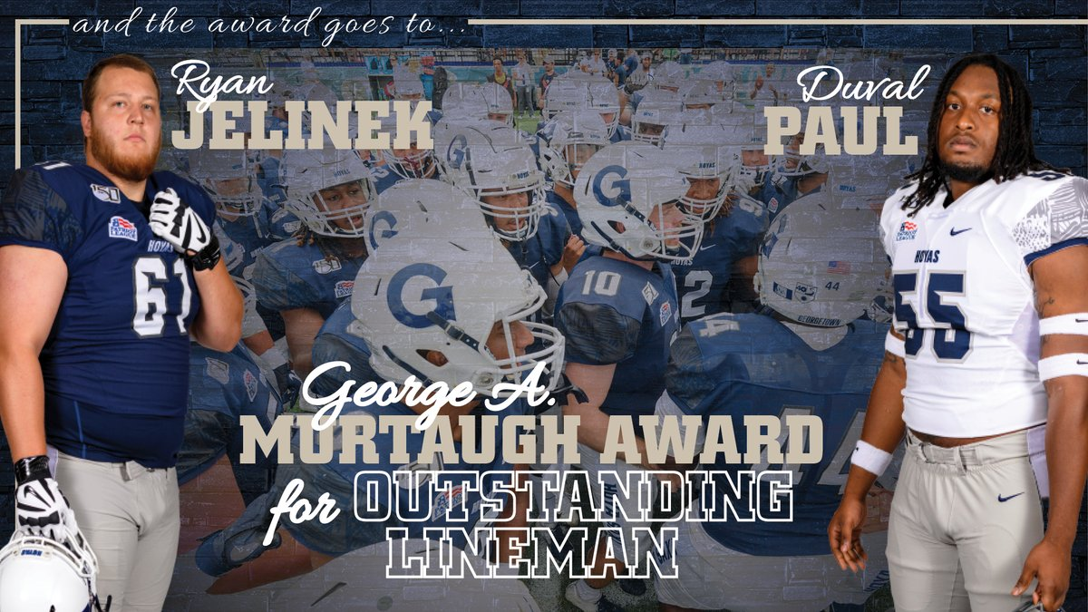 Congrats to Ryan Jelinek and Duval Paul on earning the George A Murtaugh Award! These 2 guys are absolute warriors in the trenches and a big reason for the #Hoyas success on the O-Line and D-Line. #HoyaSaxa #DefendtheDistrict