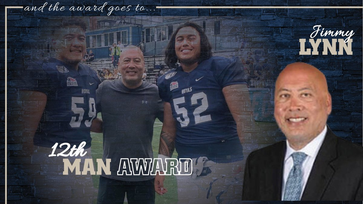 A very deserving honor for @jimmylynndc as the recipient #Hoyas 12th Man Award! Jimmy does so much for so many student-athletes on the Hilltop and has helped guide so many of our players. #HoyaSaxa #DefendtheDistrict