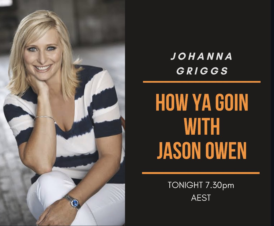 Tonight the lovely @JohGriggs7 joins me for a chat at 7.30pm over on fb 👍 https://t.co/woUetoiOJi