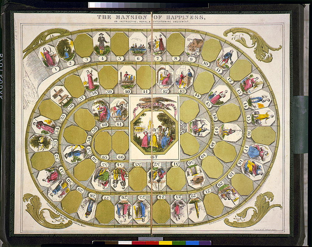 A2. @librarycongress has a wonderful collection of old board games. Heres a blog post with some fun examples. How would you use The Mansion of Happiness board game during the pandemic? blogs.loc.gov/picturethis/20… #sschat