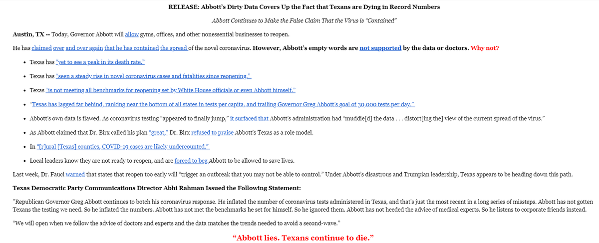 Abbott's dirty data covers up the fact that Texans are dying in record numbers. texasdemocrats.org/media/release-…