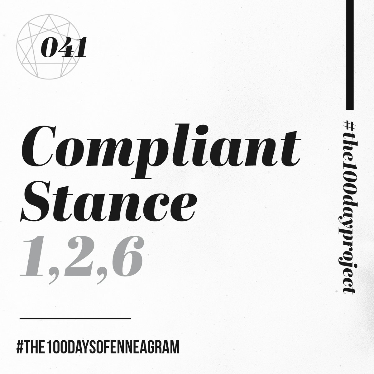 041/100 | Compliant Stance (1,2,6) Listen at https://t.co/MBo795Vt8V  Still a day behind. Working on it.  #the100dayproject #the100daysofEnneagram #enneagram #stances #relationships https://t.co/eboYFRfu6v